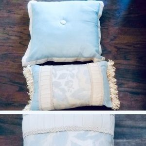 Other - Pair of Powder Blue Pale Gold Fringe Throw Pillows